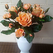Цветы и флористика ручной работы. Ярмарка Мастеров - ручная работа Букет персиковых роз. Handmade.