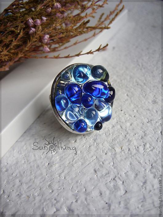 """Кольца ручной работы. Ярмарка Мастеров - ручная работа. Купить Кольцо """"Color Drops"""" (большое синее). Handmade. Синий, голубой"""
