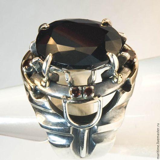 Кольца ручной работы. Ярмарка Мастеров - ручная работа. Купить Кольцо с черной шпинелью «Кармен». Handmade. Комбинированный, золото, гранаты
