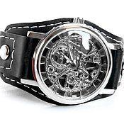 Украшения handmade. Livemaster - original item Mechanical skeleton wristwatch on genuine leather strap.. Handmade.