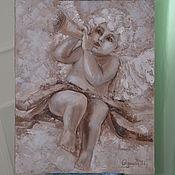 Картины и панно ручной работы. Ярмарка Мастеров - ручная работа Ангел с дудочкой. Handmade.