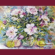 Картины и панно handmade. Livemaster - original item Oil painting, bouquet of peonies