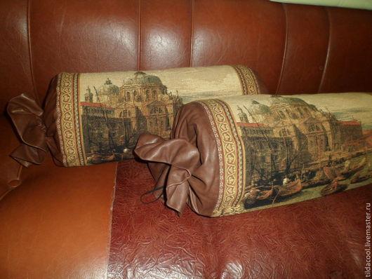 Текстиль, ковры ручной работы. Ярмарка Мастеров - ручная работа. Купить Декоративная Подушка-валик Кожаные. Handmade. Коричневый
