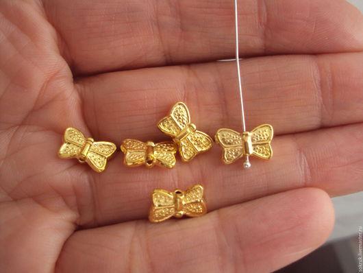 """Для украшений ручной работы. Ярмарка Мастеров - ручная работа. Купить Бусина """"Бабочка"""". Handmade. Золотой, для бусин, мелкие, фурнитура"""