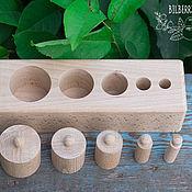 Куклы и игрушки ручной работы. Ярмарка Мастеров - ручная работа Блок с цилиндрами Монтессори. Handmade.