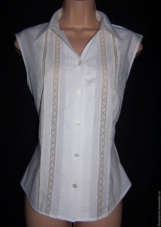 Одежда. Ярмарка Мастеров - ручная работа. Купить Винтажная английская блузка. Handmade. Белый, полиэстер