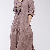 Одежда ручной работы. Ярмарка Мастеров - ручная работа Бохо платье льняное 4-13 какао. Handmade.