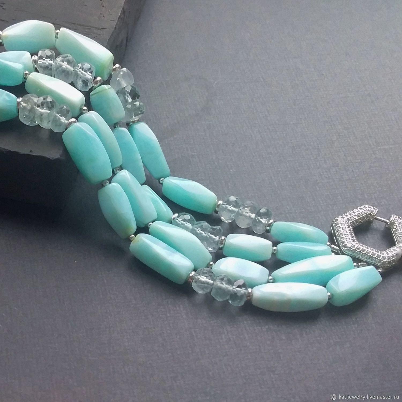 Blue Lagoon Peruvian Opal Bracelet', Bead bracelet, Rostov-on-Don,  Фото №1
