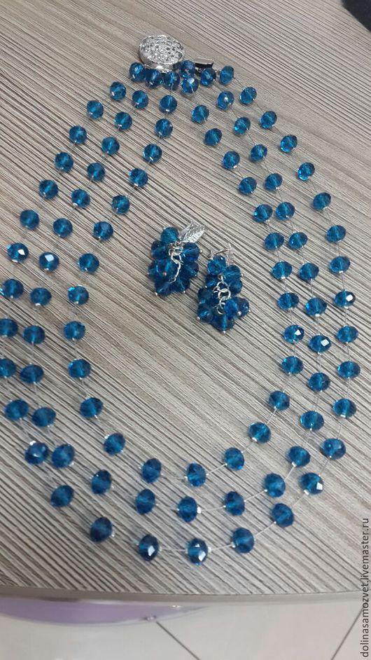 Комплекты украшений ручной работы. Ярмарка Мастеров - ручная работа. Купить Комплект украшений Воздушная синева. Handmade. Синий