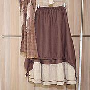 Одежда handmade. Livemaster - original item No. №197 Skirt layered boho linen. Handmade.