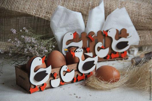 """Подарки на Пасху ручной работы. Ярмарка Мастеров - ручная работа. Купить Пасхальный набор """"Гусята"""" (салфетница и подставка под яички). Handmade."""