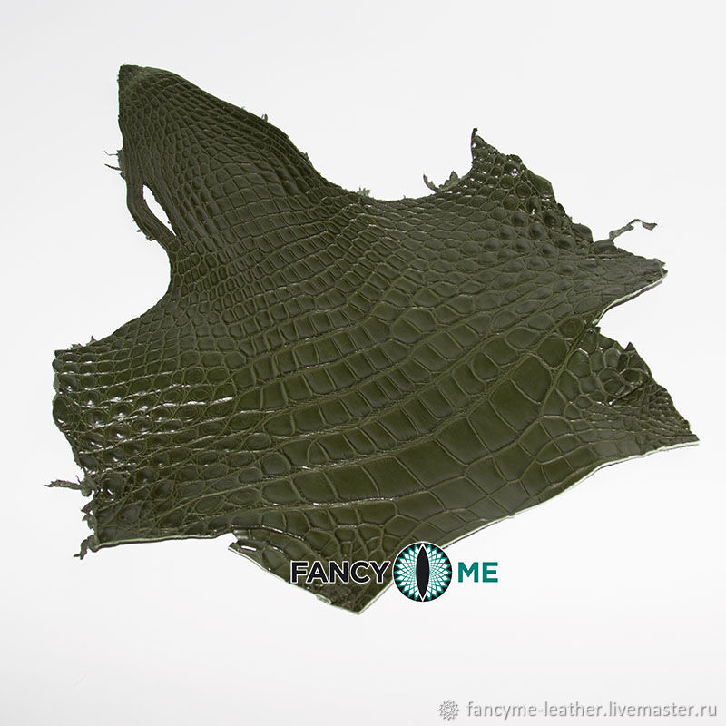 Кожа крокодила зеленая шея, Кожа, Москва,  Фото №1
