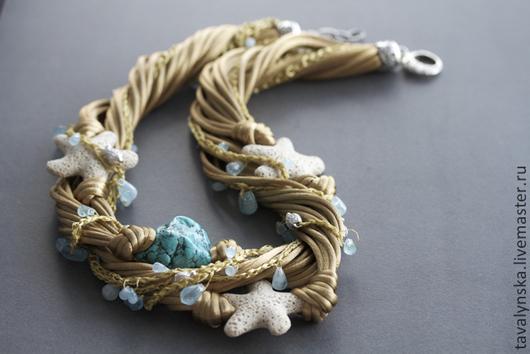 Колье, бусы ручной работы. Ярмарка Мастеров - ручная работа. Купить Колье из шелка с морскими звездами (античное золото). Handmade.