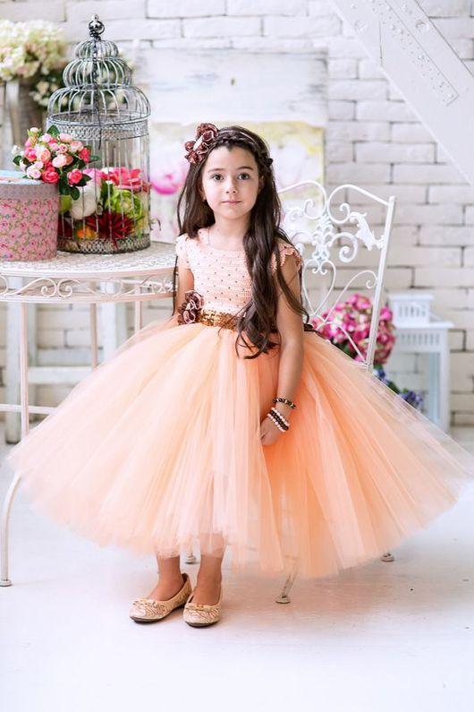 """Одежда для девочек, ручной работы. Ярмарка Мастеров - ручная работа. Купить Авторское пышное платье """"Peach"""". Handmade. Авторское платье"""
