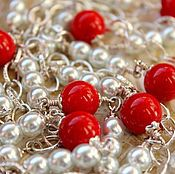 Украшения handmade. Livemaster - original item With pendant of crystal pearls and coral. long necklace. Pearl.. Handmade.