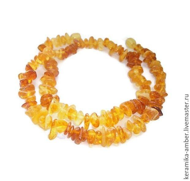 Янтарь бусы янтарные медовые коньяк натуральные камни жёлтый оранжевый, Колье, Калининград,  Фото №1