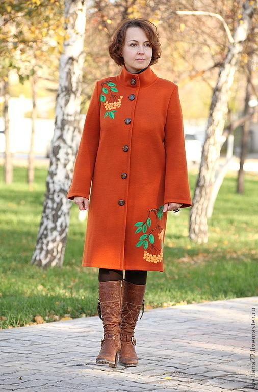 """Верхняя одежда ручной работы. Ярмарка Мастеров - ручная работа. Купить Вязаное пальто"""" Рябинка"""". Handmade. Рыжий, авторская работа"""