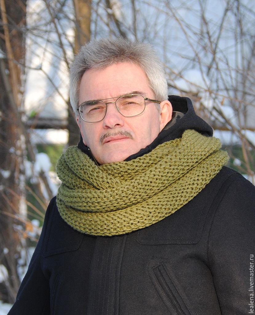 Мужской шарф-снуд цвета хаки (полушерсть) – купить в ...