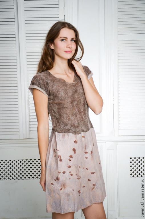 """Платья ручной работы. Ярмарка Мастеров - ручная работа. Купить Валяное платье """" Simple Brown"""". Handmade. Коричневый"""