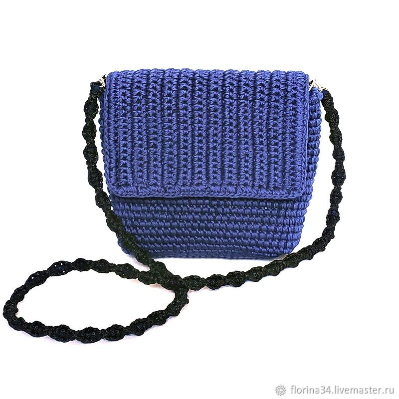 Knitted bag, blue cotton, Classic Bag, Tomsk,  Фото №1