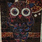 """Картины и панно ручной работы. Ярмарка Мастеров - ручная работа Алмазная живопись, вышивка стразами """"Сова"""". Handmade."""