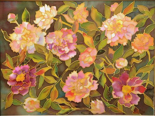 Картины цветов ручной работы. Ярмарка Мастеров - ручная работа. Купить Пионы. Handmade. Купить батик, пионы, красота