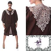Одежда ручной работы. Ярмарка Мастеров - ручная работа Пальто-жакет летний льняной с ручной вышивкой ришелье. Handmade.