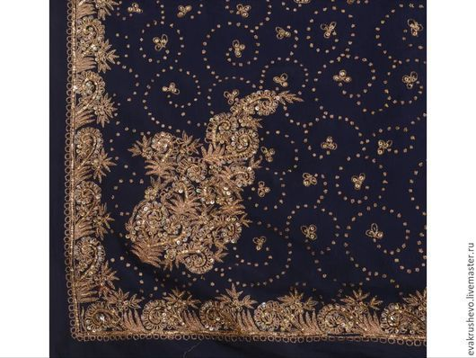Шитье ручной работы. Ярмарка Мастеров - ручная работа. Купить №584 Стариный сари с вышивкой. Handmade. Тёмно-синий, отделка