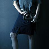 Одежда handmade. Livemaster - original item Narrow blue skirt to mid-knee, pencil skirt. Handmade.