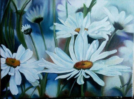 Картины цветов ручной работы. Ярмарка Мастеров - ручная работа. Купить Ромашки. Handmade. Белый, синий, ромашки, цветы