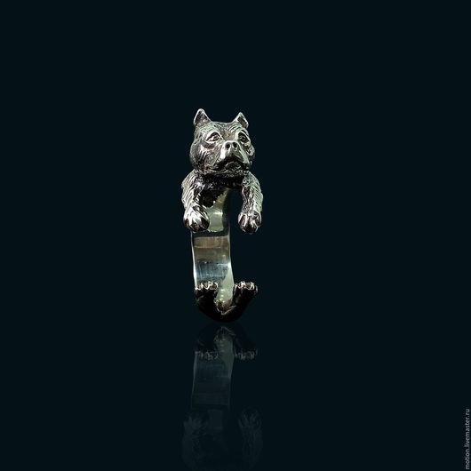 Кольца ручной работы. Ярмарка Мастеров - ручная работа. Купить Серебряное Кольцо Питбуль, ручная работа из серии животные. Handmade.