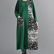 Одежда handmade. Livemaster - original item Round neck woolen dress/ green. Handmade.