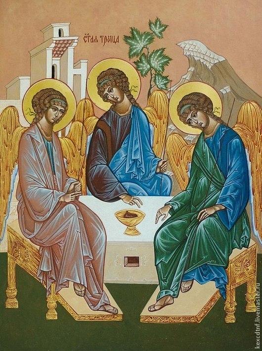 Святая Троица.  \r\nДоска,левкас, поволока, золото.\r\n25,5 см /34.5 см