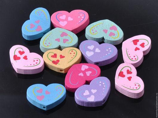 Куклы и игрушки ручной работы. Ярмарка Мастеров - ручная работа. Купить Скидка 10% Бусины деревянные детские Сердечки. Handmade.