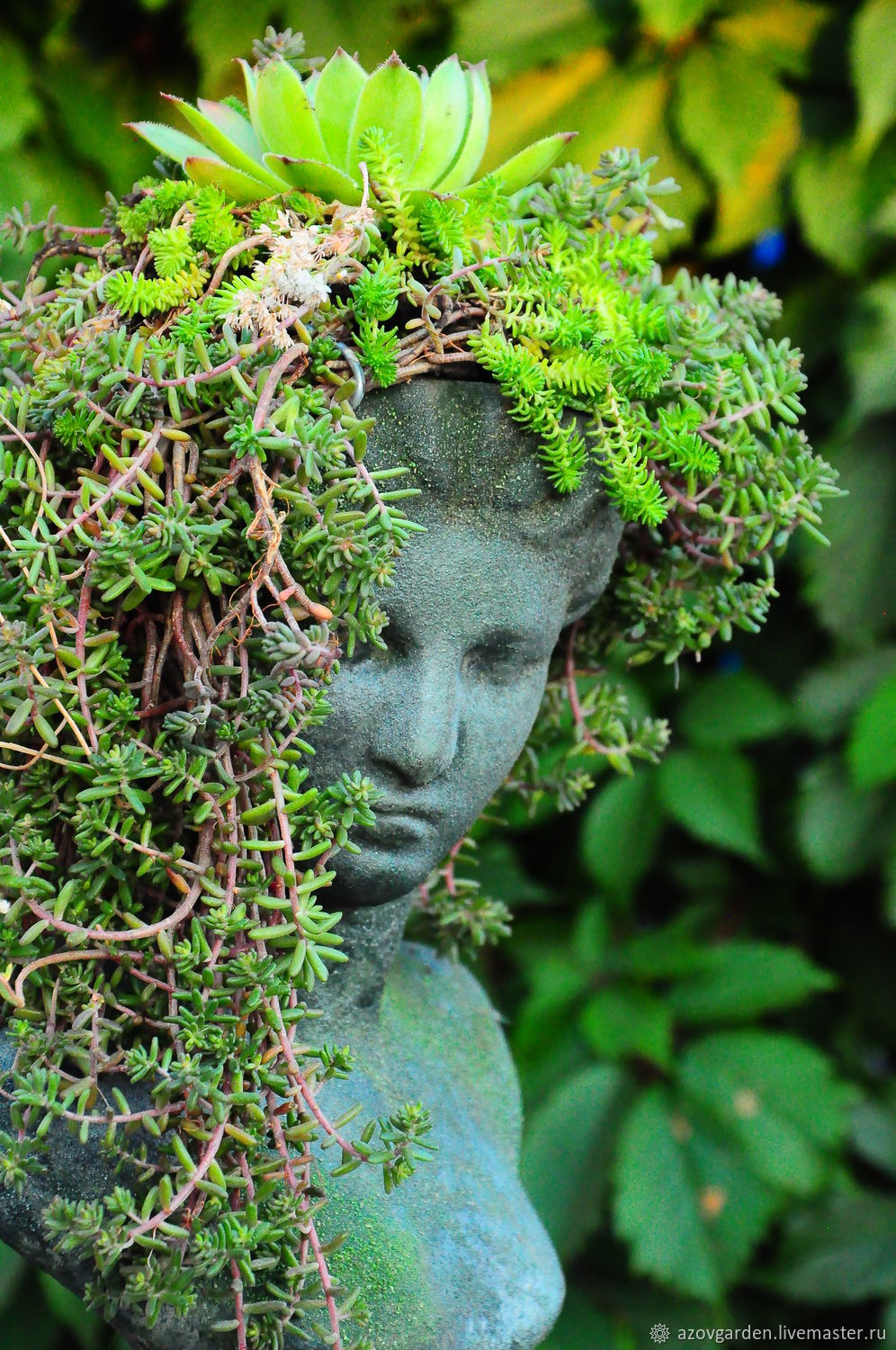 Antique sculpture aged Bust of a Girl with a planters in her head, Garden figures, Azov,  Фото №1