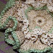 Украшения ручной работы. Ярмарка Мастеров - ручная работа Брошь-цветок Лен вязаная крючком в эко-стиле. Handmade.