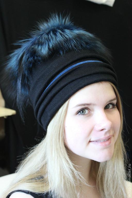 """Шапки ручной работы. Ярмарка Мастеров - ручная работа. Купить Шапочка """"Синий иней"""". Handmade. Меховая шапка, женская шапка"""