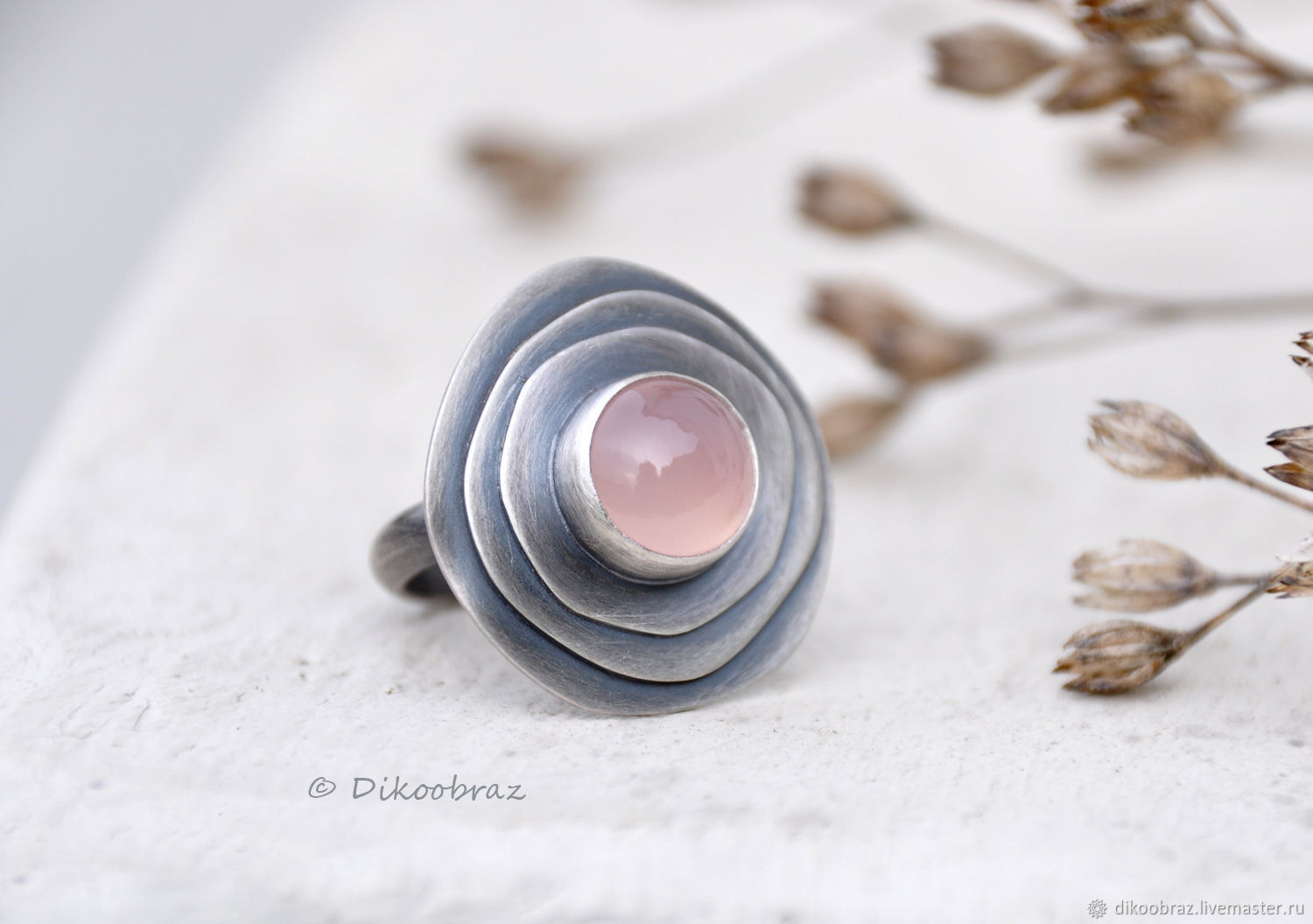 Dusty rose ring (925 silver, chalcedony), Rings, Moscow,  Фото №1