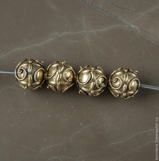 Для украшений ручной работы. Ярмарка Мастеров - ручная работа. Купить Бусина Сонган, серебро с позолотой антик. Handmade. Золотой