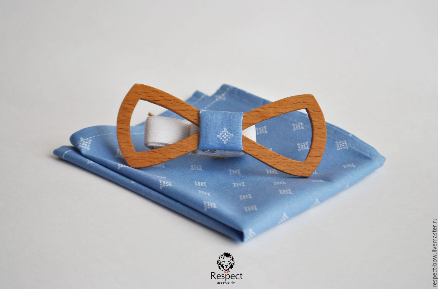 Wooden bow tie pocket square blue pattern Lord, Ties, Moscow,  Фото №1