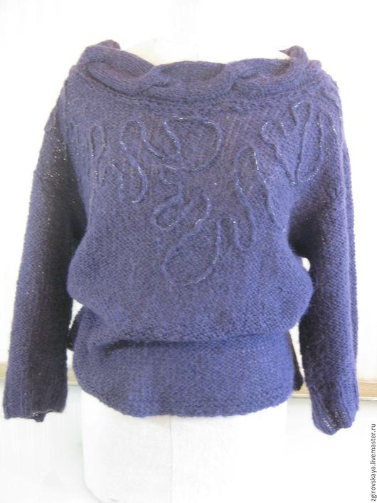 Кофты и свитера ручной работы. Ярмарка Мастеров - ручная работа. Купить Джемпер. Handmade. Тёмно-фиолетовый, ручное вязание, джемпер