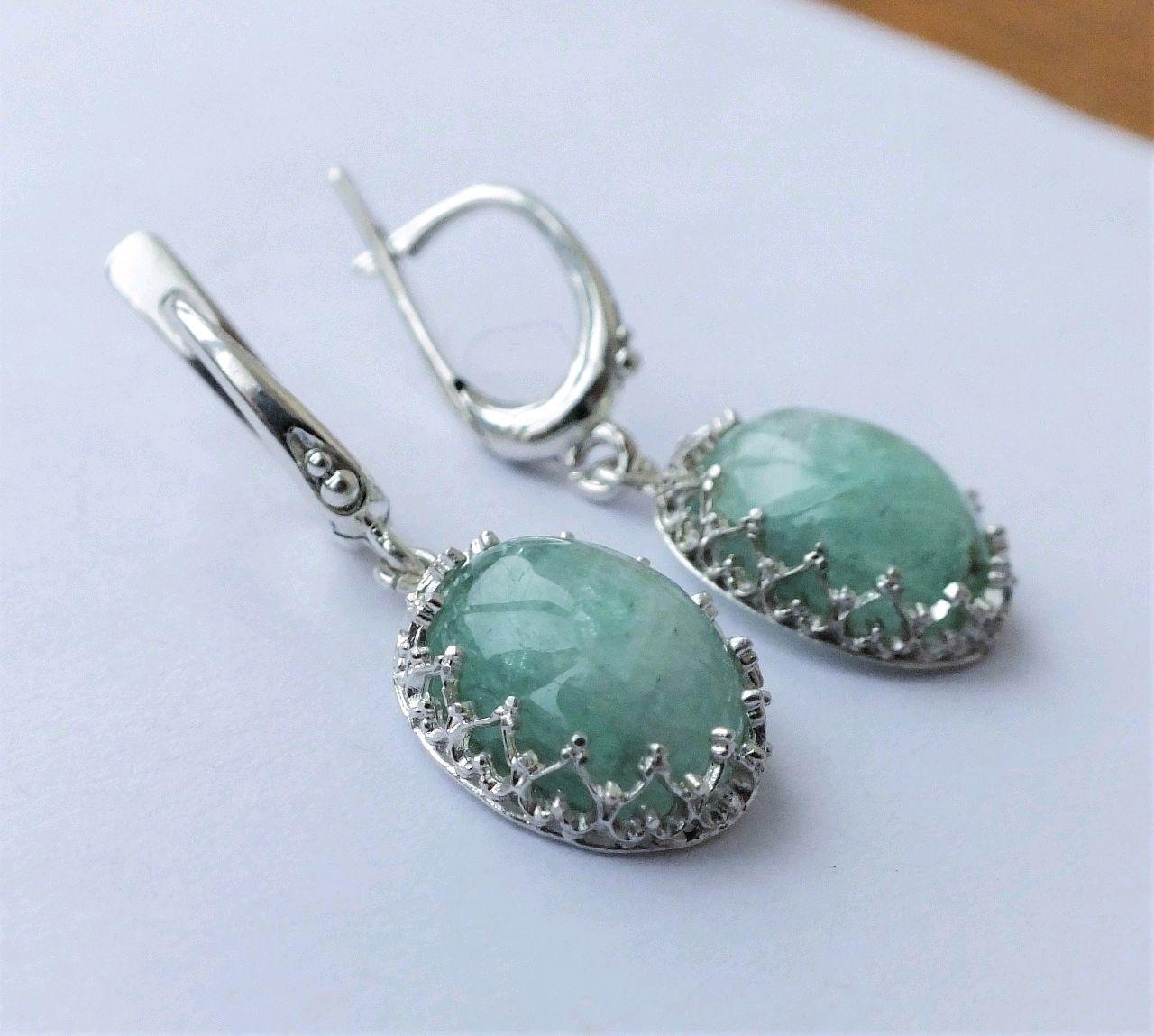.Earrings 'Winter' - aquamarine, 925 silver, Earrings, Moscow,  Фото №1