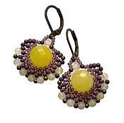 Earrings handmade. Livemaster - original item Earrings with agate & chalcedony. Purple earrings. Yellow earrings. Handmade.
