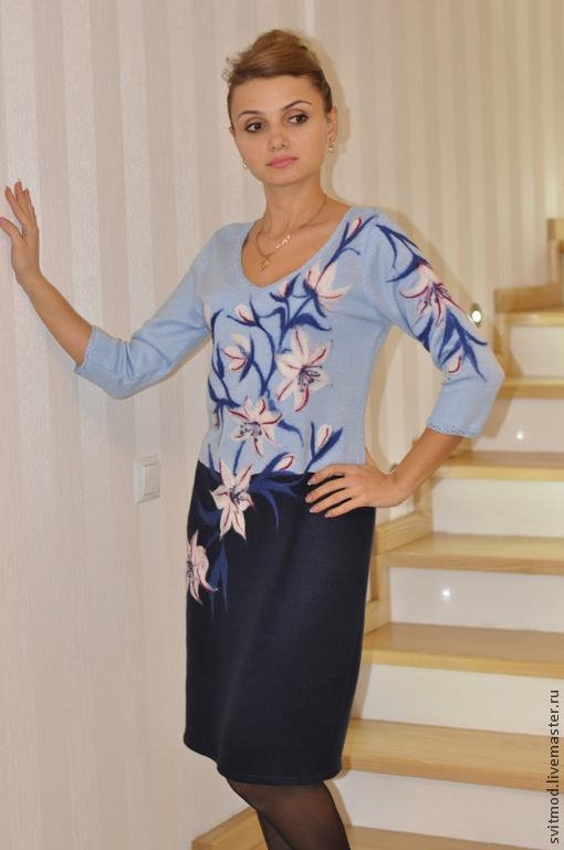 """Платья ручной работы. Ярмарка Мастеров - ручная работа. Купить Платье""""Лилии"""". Handmade. Синий, модное платье"""