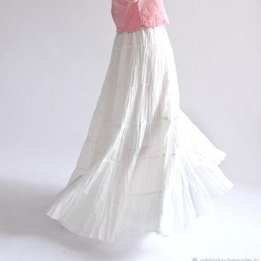 Одежда ручной работы. Ярмарка Мастеров - ручная работа Белая широкая ярусная юбка Белая Пена. Handmade.