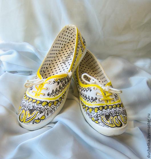 """Обувь ручной работы. Ярмарка Мастеров - ручная работа. Купить Кеды  женские с рисунком на заказ  """"Желтые огурцы"""". Handmade. Кеды"""