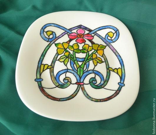 Декоративная посуда ручной работы. Ярмарка Мастеров - ручная работа. Купить Роспись по стеклу Декоративная тарелка. Handmade. Разноцветный, посуда