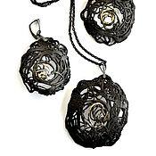"Украшения handmade. Livemaster - original item Porcelain set from the ""Teneta"" series, pendant, earrings. Handmade."
