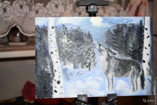 """Животные ручной работы. Ярмарка Мастеров - ручная работа. Купить """"Одиночество Волка"""" картина маслом. Handmade. Голубой, подарок"""