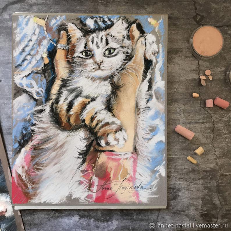 Теплые ладошки - картина с белым котом, Картины, Москва,  Фото №1